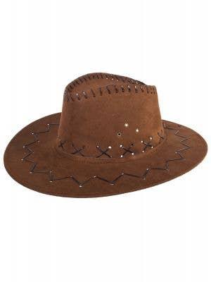 Adult's Brown Faux Suede Cowboy Hat