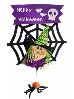 Happy Halloween Child Friendly Sign with Hanging Spider and Purple Witch