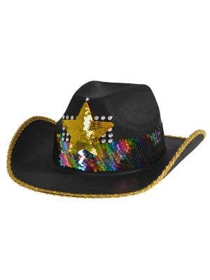 Cowboy Hat with Rainbow Sequins