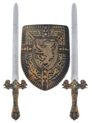 3 Piece Medieval Knight Shield and Sword Weapon Set