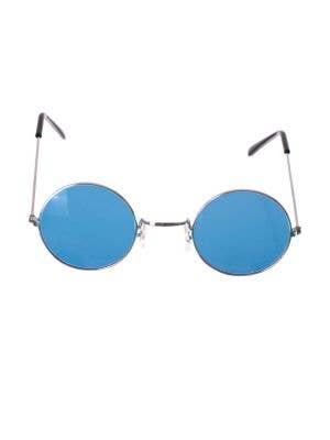 Round Blue Lens John Lennon Glasses with Silver Frame