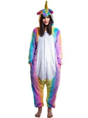 Women's Enchanted Rainbow Striped Unicorn Costume Onesie Jumpsuit Main Image