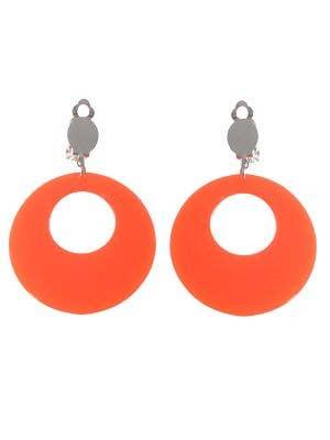 Neon Orange Round 80s Clip On Costume Earrings
