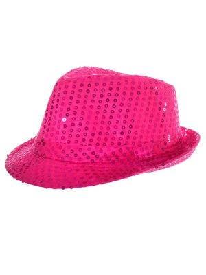 Neon Pink Sequinned Fedora Costume Hat