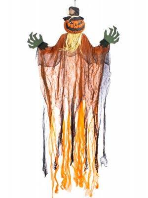 Orange Scarecrow Pumpkin with Light Up Eyes