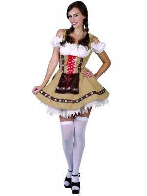Beer Girl Women's Green And Brown Oktoberfest German Fancy Dress Costume Main Image