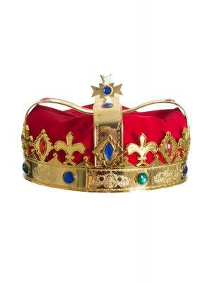 Gold Plastic And Red Velvet Royal King's Crown With Faux Jewels Costume Accessory