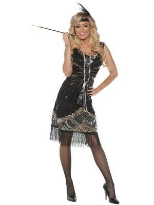 Women's Black With Silver And Gold Sequins 1920'S Flapper Fancy Dress Costume Main Image