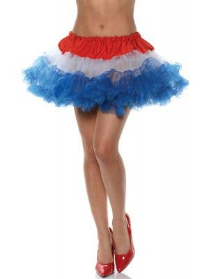 Ruffled Thigh Length Red, White and Blue Petticoat