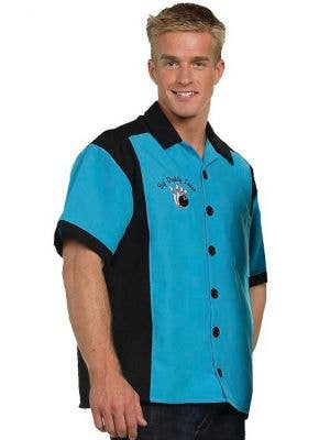 Big Daddy Lanes Men's Turquoise 50's Bowling Costume Shirt