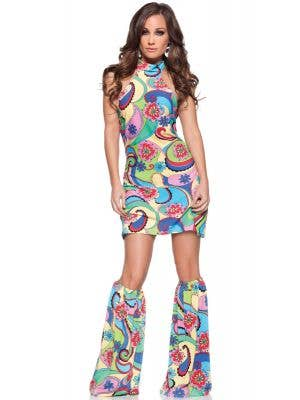 Women's hippie 60s multi-coloured dress costume main image