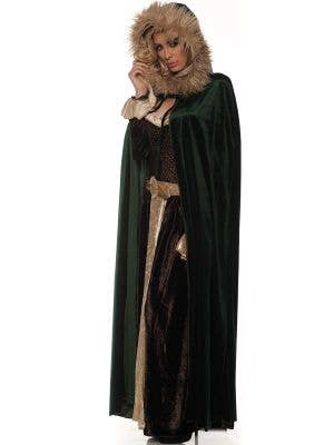 Deluxe Forest Green Medieval Cape with Fur Hood