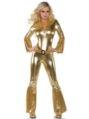 70's Women's Metallic Gold Disco Jumpsuit Costume Front View