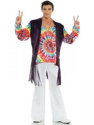 Mens 1960s Tie Dye Fancy Dress Hippie Costume - Main Image