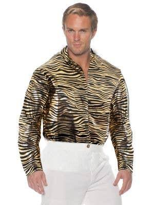 Men's Gold Metallic Tiger Print Tiger King Shirt - Main Image
