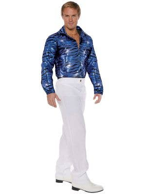 Men's Plus Size Blue Sequinned Tiger King Shirt - Main Image