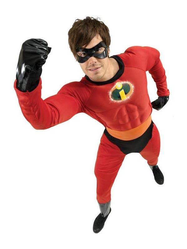 Licensed Mens Mr Incredible 2 Deluxe Costume Disney Superhero Fancy Dress Outfit