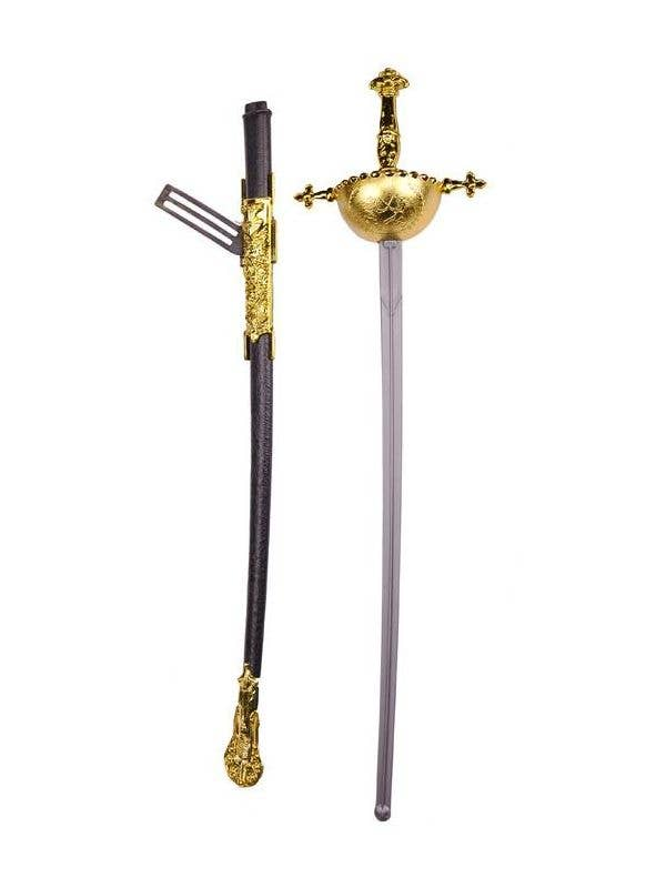 Long Silver Musketeer Sword Costume Weapon with Gold Handle