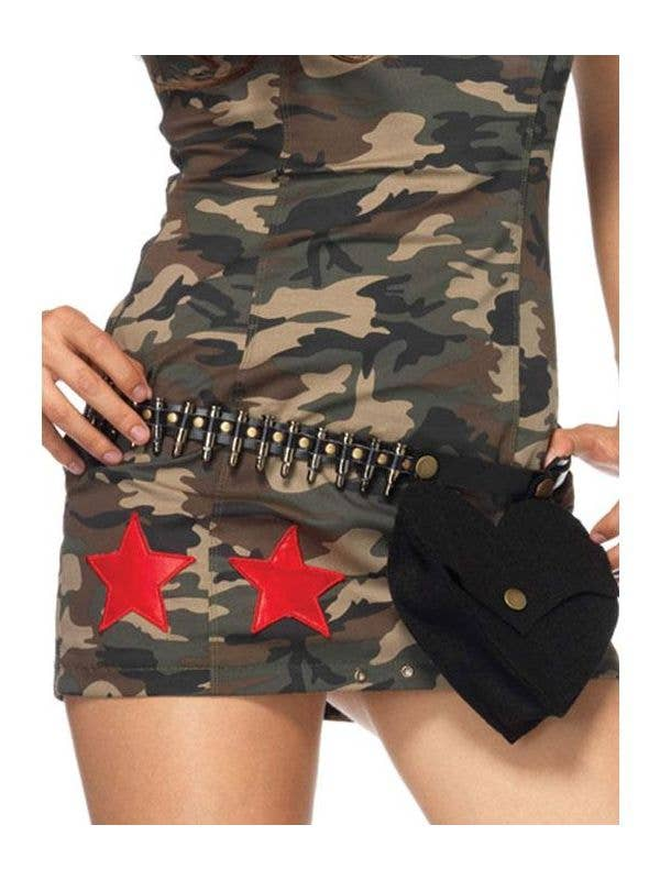 Novelty Black Faux Leather Women's Army Bullet Belt with Pouch