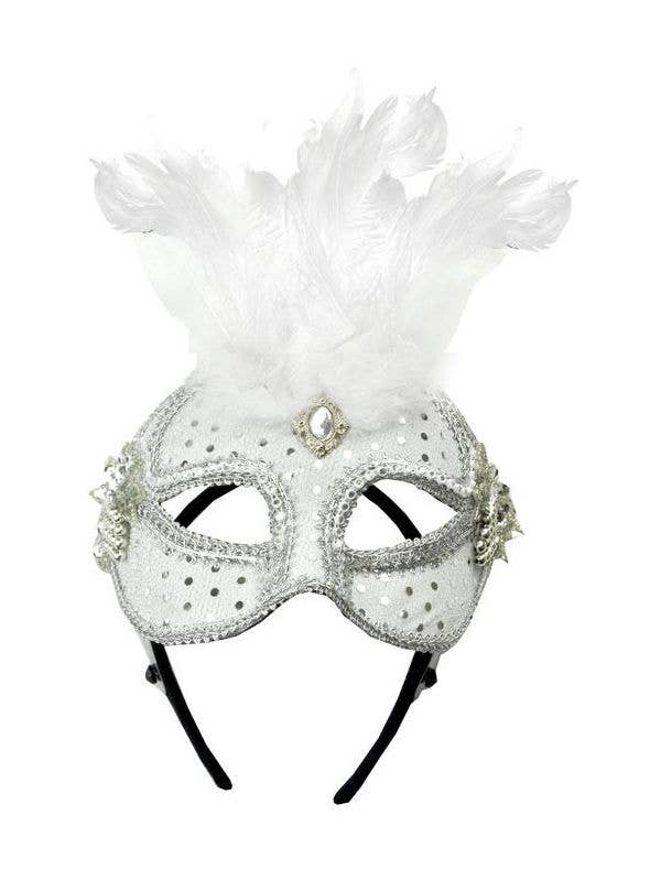 White Mesh Lace Masquerade Mask with Feathers