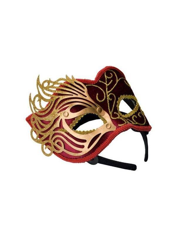 Red Velvet Masquerade Mask with Gold Fretwork Overlay