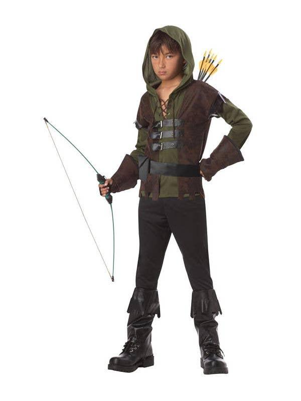 Green Hat Forest Merry Men Fancy Dress Robin Sherwood Feather Hood Prince Play