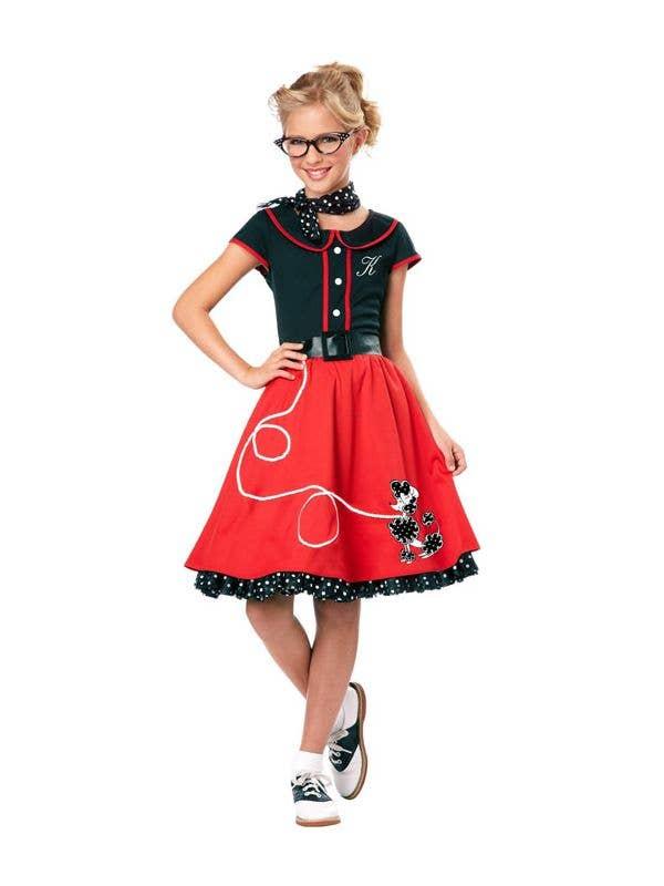 NIFTY 1950S ROCK N ROLL ADULT WOMENS ROCKABILLY POODLE SKIRT FANCY DRESS COSTUME