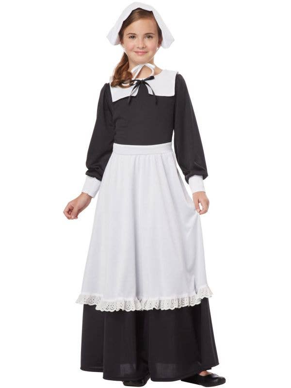 Pilgrim Girl Traditional Black and White Costume Image 1