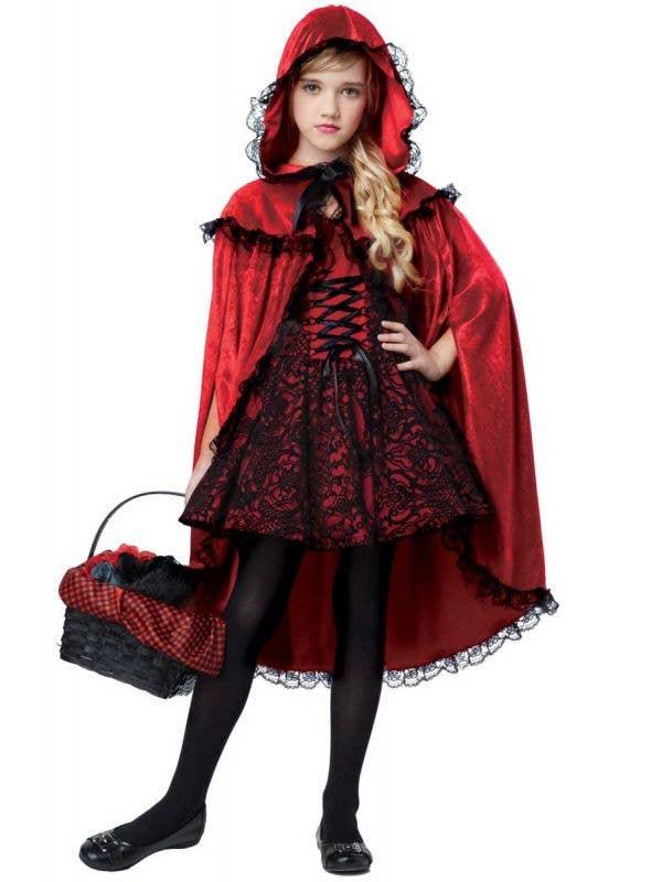 Girls Gothic Red Riding Hood Halloween Costume