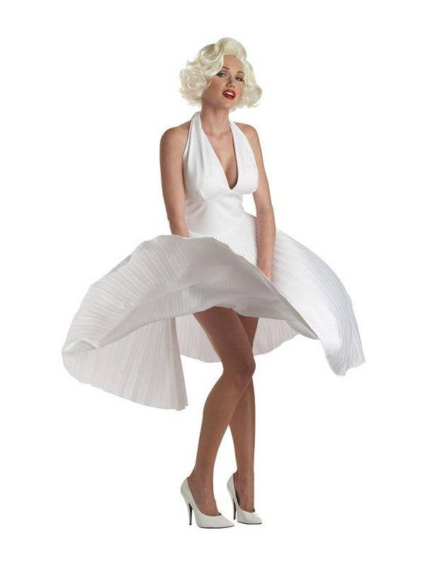 Deluxe Marilyn Monro Classic Sexy White Dress Womens Fancy Dress Costume - main image