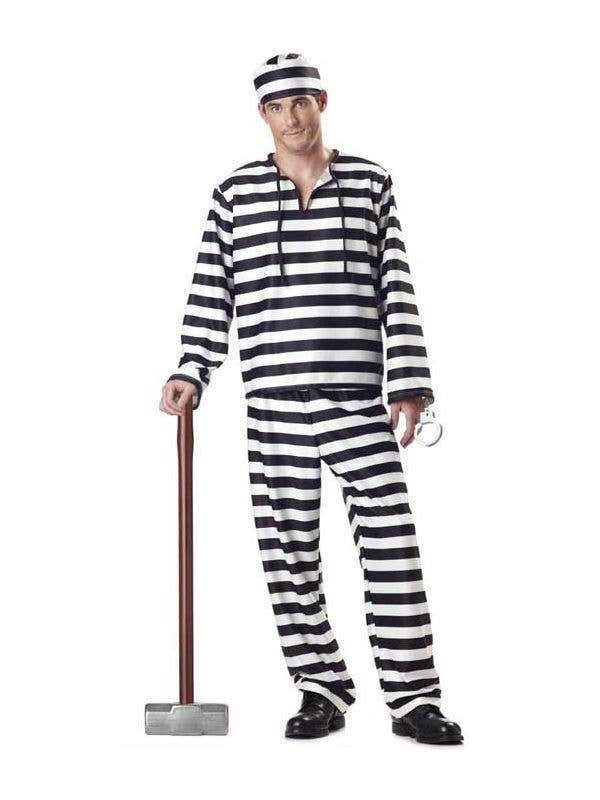 Jailbird Prisoner Mens Black and White Convict Costume -main image
