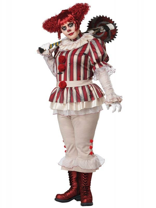 Women's Plus Size Sadistic Clown Halloween Costume - Front Image