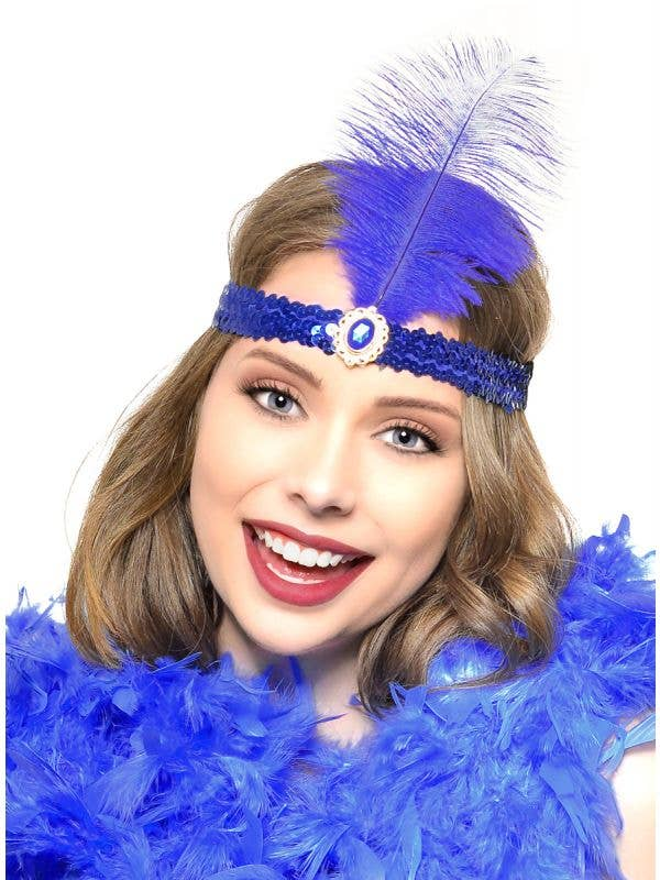 Royal Blue Feather and Sequins 1920s Flapper Headband