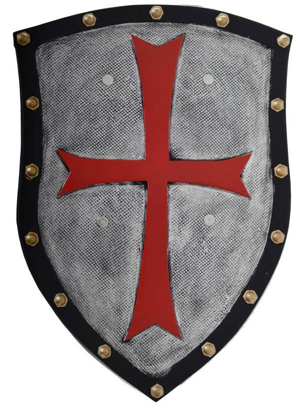 Knight's Shield Silver and Black With Large Red Cross Medieval Costume Accessory