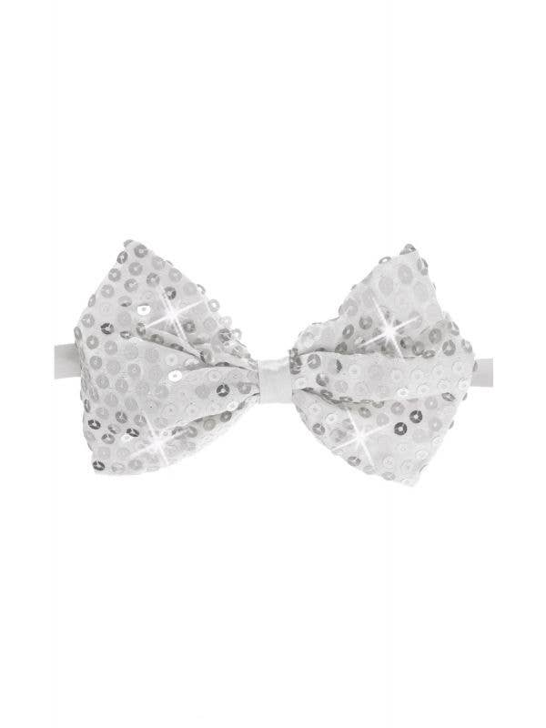Sequined Silver Light Up Costume Bow Tie Front View