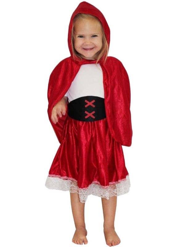 Short Soft Satin Red Riding Hood Cape /& Hood Fairytale Halloween Fancy Dress