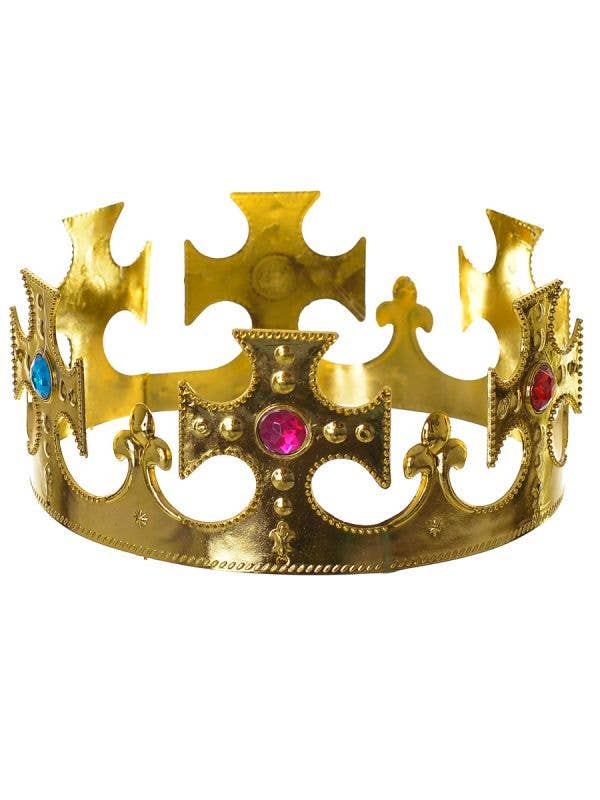 Golden Royal King's Crown with Coloured Jewels Costume Accessory - Main Image