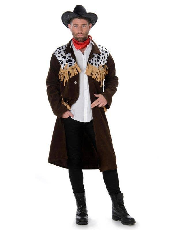 Brown Budget Cowboy Waistcoat Wild West Cow Boy Mens Fancy Dress Costume