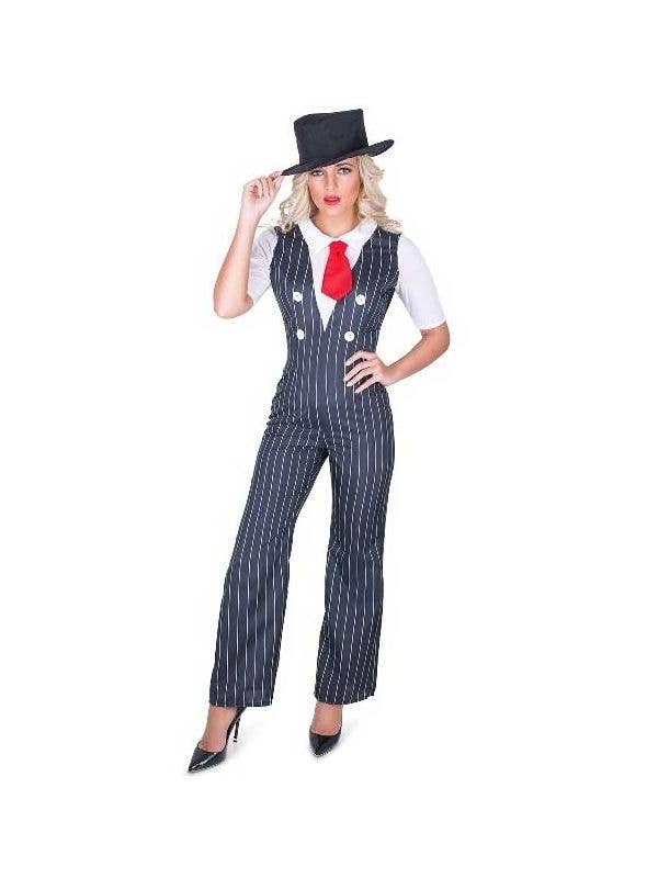 Womens Sexy 1920s Gangster Fancy Dress Costume - Main Image
