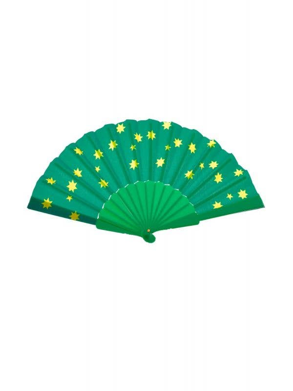 CUT SOU6698 Green and Gold Australia Themed Hand Fan Sports Fan Novelty Accessory Close - Second Image