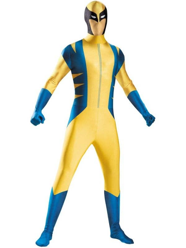 Men's Yellow And Blue Marvel Wolverine Fancy Dress Costume Main Image