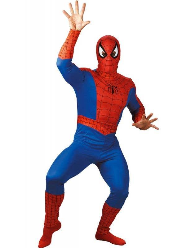 Red and Blue Classic Men's Spiderman Superhero Costume - Main Image