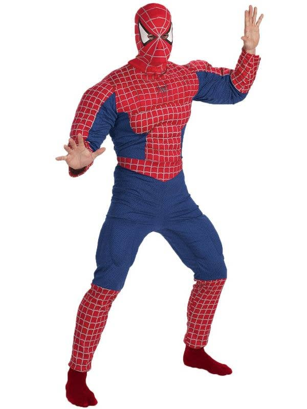 Men's Blue And Red Spiderman Muscle Chest Superhero Fancy Dress Costume Main Image