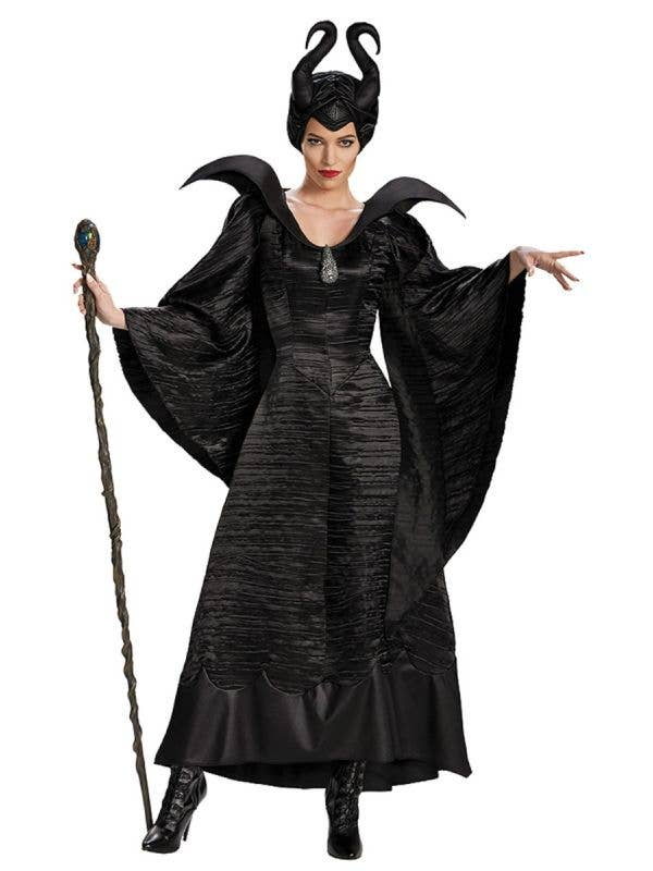 Women's Satin Black Maleficent Halloween Evil Queen Fancy Dress Costume Main Image