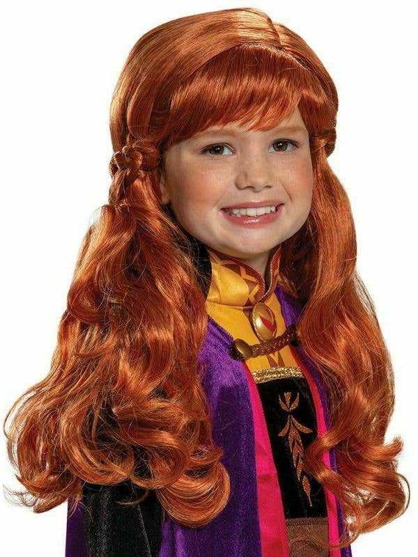 Girls Anna Frozen 2 Auburn Red Deluxe Wig - Front Image