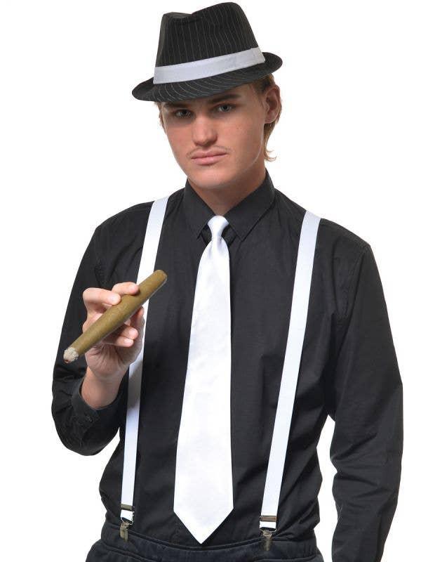 White Satin Zip Up 1920s Gangster Costume Tie - Main Image