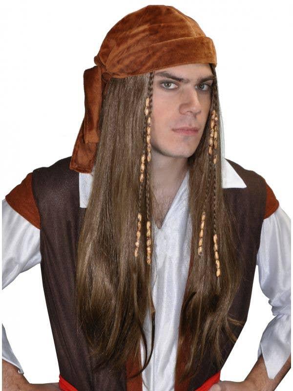 Long Beaded Brown Pirate Wig And Bandana Main View