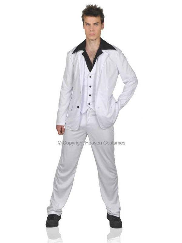 Men's Scarface White Gangster Suit Fancy Dress Costume Main Image