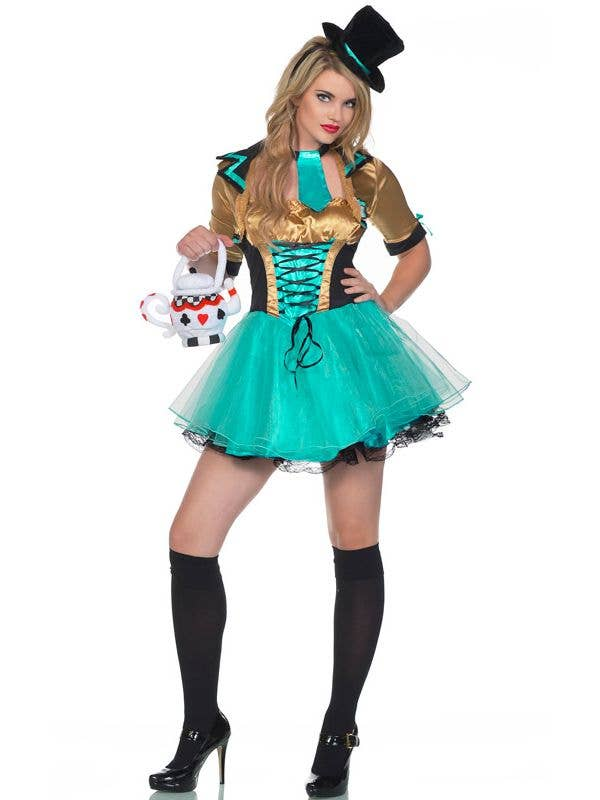 Women's Tea Party Sexy Mad Hatter Costume - Main Image