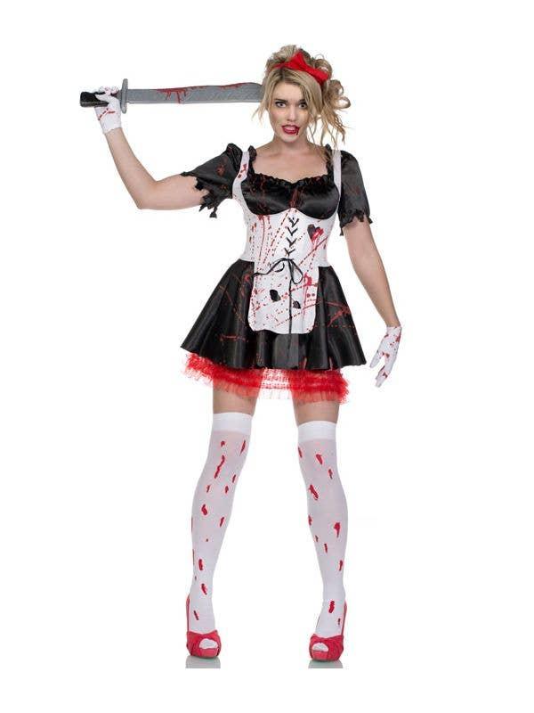 Women's Halloween Malice In Wonderland Zombie Costume Main Image